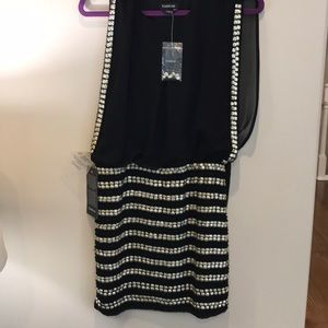Black and silver Beaded cocktail dress